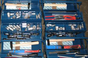 Set of hand tool in boxes
